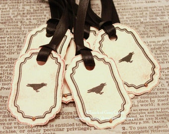 Halloween Gift Tags (Double Layered) - The Raven - Vintage Inspired Handmade Halloween Tags (Set of 8)