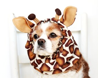 Giraffe Dog Snood - Stay-Put 3 Rows Elastic Thread - Pet Hat - Long ear covering - Specialty Snood