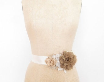 Shabby Chic Sash with a Burlap Inspired Rose in Champagne and Ivory Made to Order