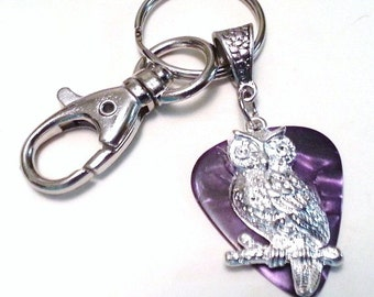 Guitar Pick KeyChain - Guitar Pick Jewelry - Purple - Owl Key chain - Owl Jewelry - Pick Key Chain