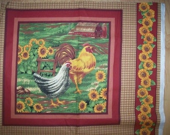 A Wonderful Rooster And Chicken In A Field Of Sunflowers Cotton Fabric Panel Free US Shipping