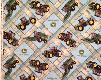 A Wonderful John Deere Tractors Diagonal Plaid Pastels Fabric BTY Free US Shipping
