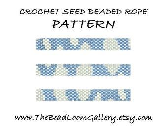 Beaded Rope Pattern - PDF File - Crochet Seed Beaded Rope - Vol.24 - Blue Sky