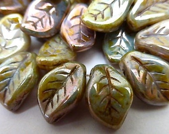 25 Opaque Sage Green Luster  with Picasso Finish Leaves in veins   9X14mm