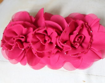 Cute  beaded ruffled chiffon    flower  applique  pink  color