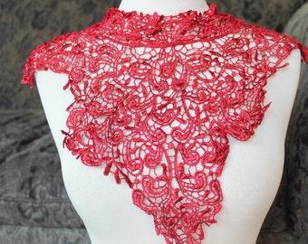Cute venice applique red  color  1 pieces listing