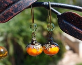 Fall Harvest Classy Pumpkin Earrings ... Czech Glass Beads ... Vintage Style ... FREE Shipping