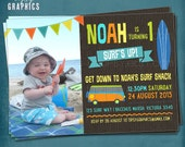 Surf's Up.  Fun Photo Beach Surf Birthday Party Invitation by Tipsy Graphics