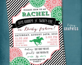Kentucky Derby Birthday or Shower Party Invitation. Stripes and Mums.  Any text or Colors by Tipsy Graphics