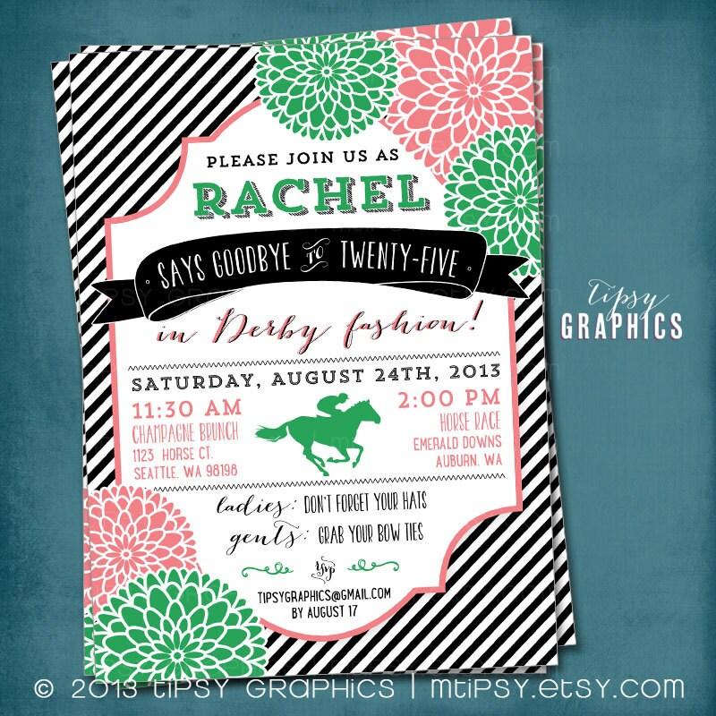 Kentucky Derby Birthday Or Shower Party Invitation Stripes