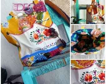 Mexican Embroidered Oilcloth Tote-Jalisco Signature Tote