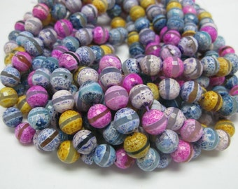 37 pcs10mm faceted multi color agate beads