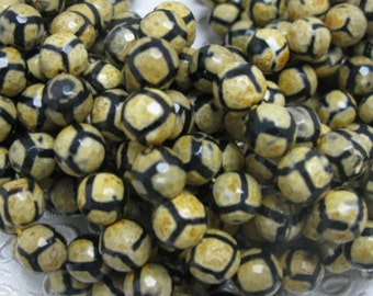 32 pcs 12mm round faceted agate beads