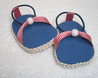 RED, WHITE & BLUE Sandals 18 inch doll clothes