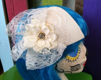Lace with Golld Rose Bridal Hair Piece