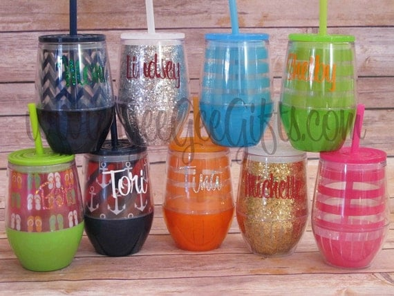 monogrammed acrylic stemless wine tumbler by itsgeegeebaby on etsy