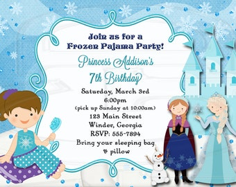 Frozen Slumber Party Invitation Pajama Party  -Digital File