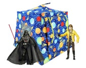 Toy Pop Up Tent, Sleeping Bags, royal blue, solar system sparkle print fabric