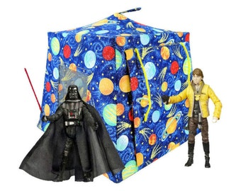 Toy Pop Up Tent, Sleeping Bags, royal blue, solar system sparkle print fabric for dolls, action figures or stuffed animals