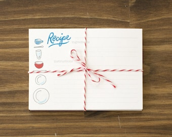 recipe cards place setting teal and tomato box of 24