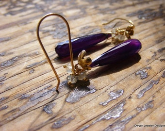 Deep Magenta Chalcdeony Elongated Briolette Earrings with Prehnite Cluster.
