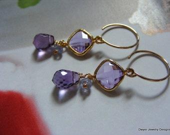 Deep Amethyst Gemstone Earrings with Amethyst Glass and Tanzanite.