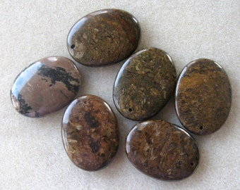 Bronzite Puffed Oval Gemstone Pendant Focal Bead Craft Supplies Gemstone Beads Semi Precious  Bead Supplies Jewelry Supplies (1)