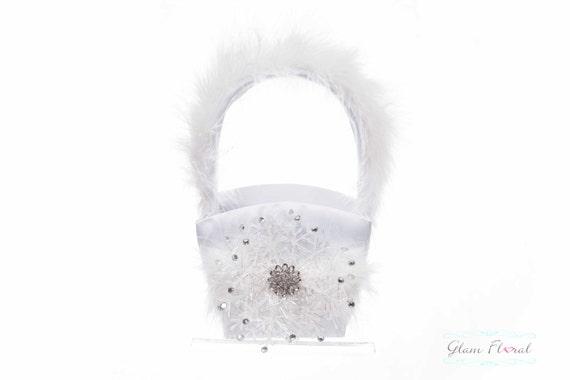 Snowflake Flower Girl Basket, Ring Bearer Pillow, Set, Rhinestones Feathers Snowflakes, Winter Wedding