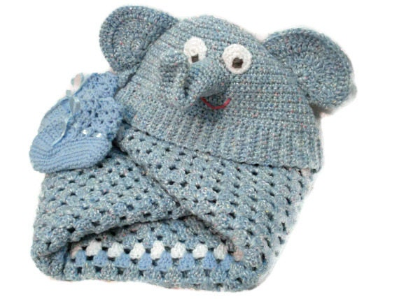 Elmer Elephant Hooded Baby Blanket Afghan with Matching Booties Shoes