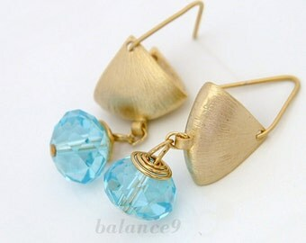 Gold crystal dangle earrings, aqua blue crystal drop, triangle modern earring, holidays gift, everyday jewelry, by balance9
