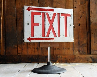 Fix It Light No. 3, Upcycled Exit Light, Exit Sign Table Lamp, Repurposed Lighting, Fixit Lamp