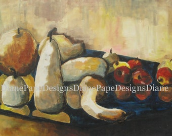 "Fall Reflection 8x10 Signed Print w/1/4"" Border- Traditional Art, Fall, Mirror, Vegetables, Autumn, Squash, Apples, Pumpkin, Vintage, Ochre"