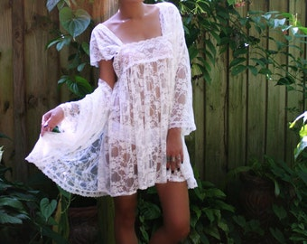 Sheer Lace Bridal Lingerie Baby Doll Nightgown Caplet Sleeves Wedding Trousseu Sleepwear Robe Set Peignoir