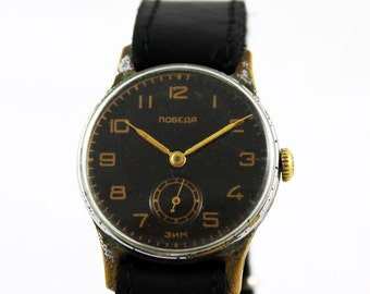 POBEDA(ZIM) Vintage MILiTARY men's SERVICED watch 15 Jewels from 1958 made in Ussr
