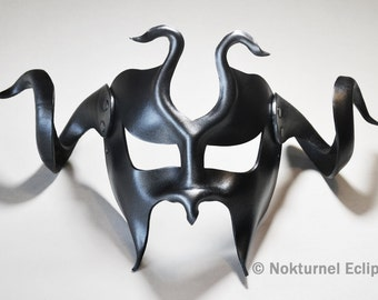 Masquerade Black & Silver Leather Mask with HUGE Horns Cosplay Fetish Warrior Medieval Knight Viking Halloween Costume UNISEX