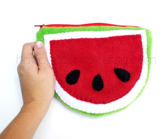 Watermelon Pouch - Cute Make Up Pouch , Kawaii Pencil Case , Coin Purse
