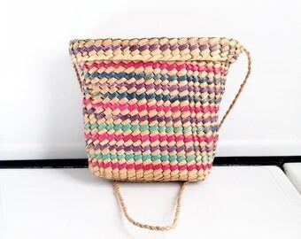 Vintage Rainbow Basket Purse
