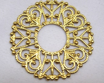 10pcs Stamping Filigree Raw Brass Findings Flat Decorating Crafts for Jewelry Design bf075