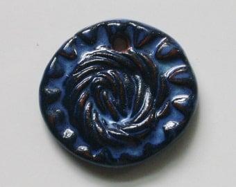 Handmade Ceramic Blue Pendant 4101613