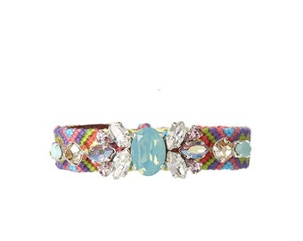 Swarovski crystal embellished friendship bracelet - handembroidered bracelet - rhinestone friendship bracelet - pantone hemlock