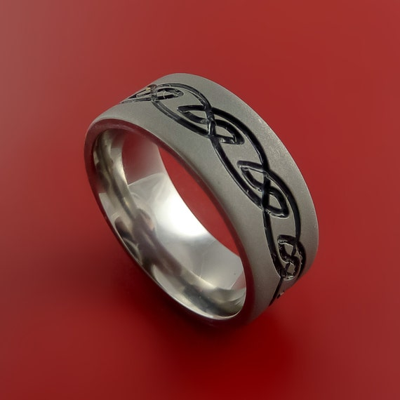 Titanium Celtic Band Infinity Design Ring Any Size 3 to 22 Black, Red. Green, Blue Inlay