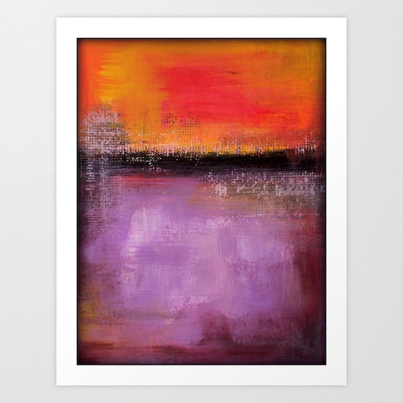 Purple and orange modern art print contemporary by lizmosloft for Orange and purple walls