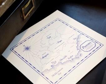 Letterpress Vintage Map