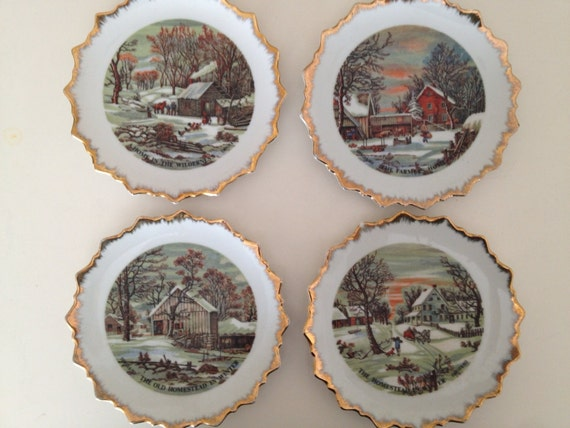 Christmas Currier and Ives Print 4  Winter Scenes Decorative Wall Plates Gold Edge Victorian America