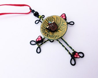 Hand made Wire wrapped Dark green Christmas Cross Pendent/Ornament  with Reindeer, holly, and berries