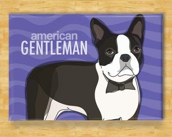Boston Terrier Magnet - American Gentleman - Boston Terrier Gifts Dog Refrigerator Fridge Magnets
