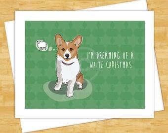 Dog Christmas Cards - Corgi Dreaming of a White Christmas - Holiday Funny Christmas Cards