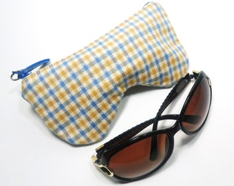Curves Plaid/Check Eyeglass Case, Sunglasses Pouch, Sunglasses Case, Zippered Eye Pouch Blue/Yellow/White