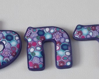 Personalized Hebrew letters, millefiori polymer clay, costume made, children