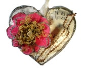 Southern Skies Valentines Handmade Puffy Heart Decoration or Gift Vintage Music  Paper